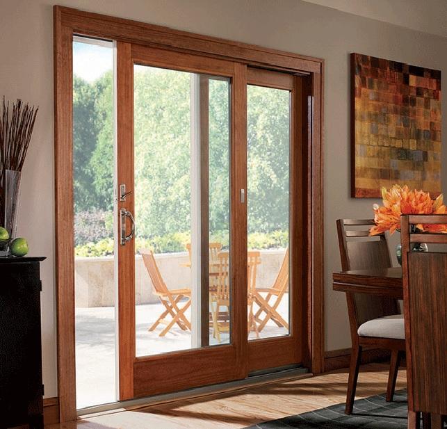 Modern balcony sliding door design with wooden frame
