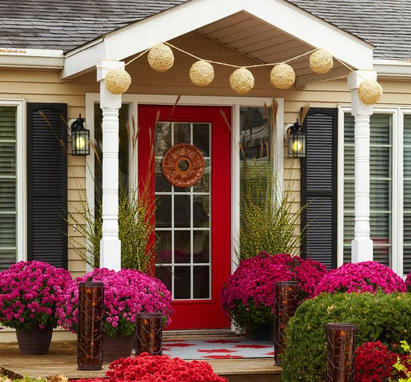 Red Painted 15 Panel Glass Door With Sidelights
