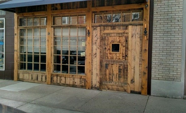 Rustic front single door designs with windows inserts
