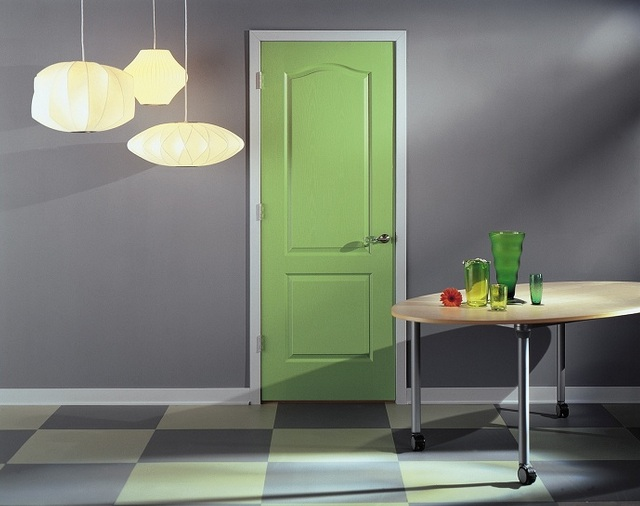 Two panel interior doors with arch top and beautiful color