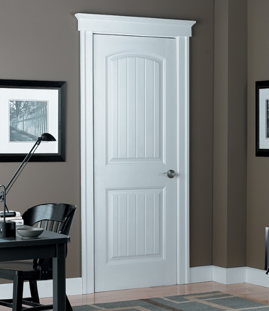 Two panel interior doors with camber top