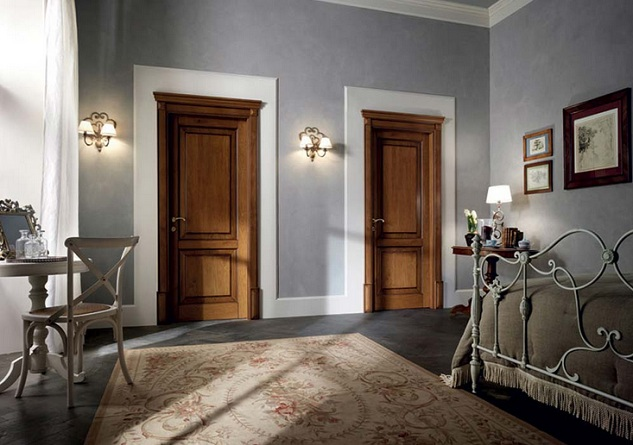 Two Panel Solid Wood Interior Doors For Bedroom
