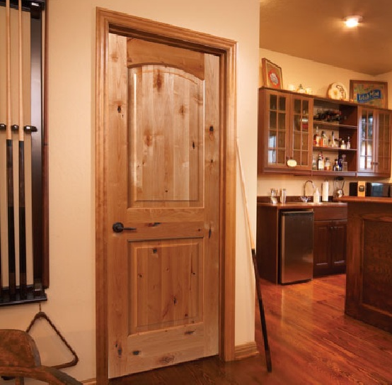 Unfinished two panel interior doors with arch top