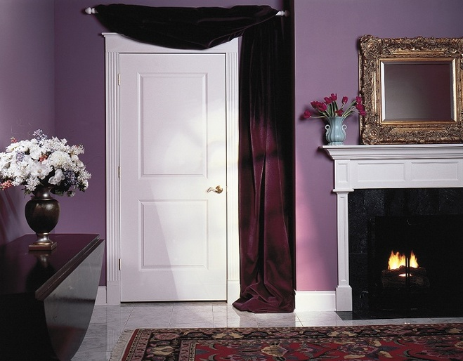 White two panel interior doors with square top