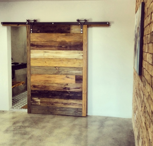 Barn door decorating ideas with natural wood planks