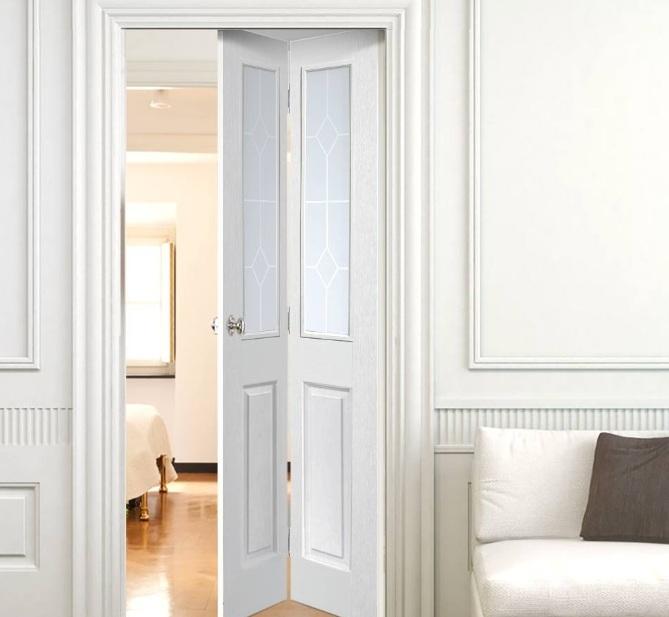 Bifold half glazed interior doors for bedroom