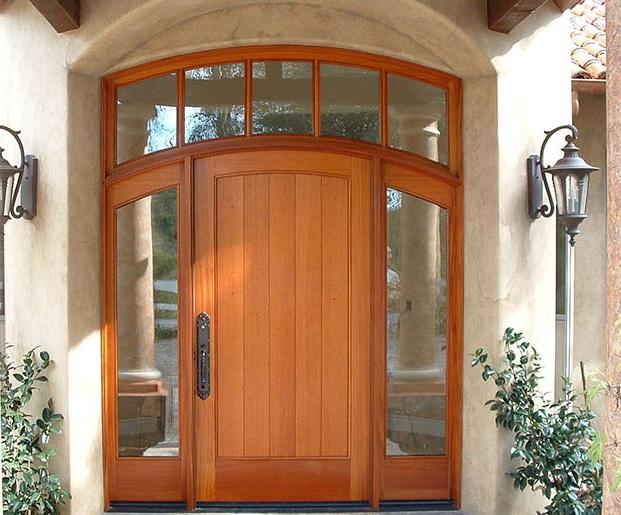 Custom mahogany entry doors with sidelights
