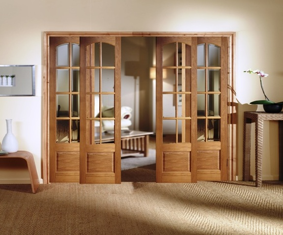 Custom size interior french doors with natural finish
