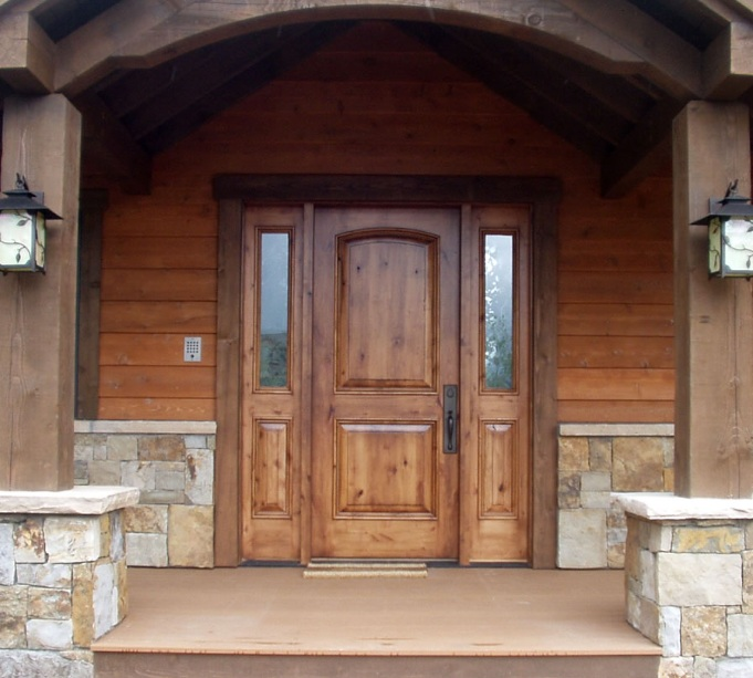 Custom wood doors with sidelights