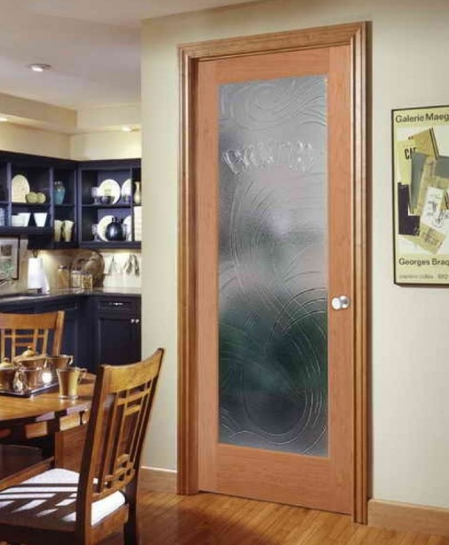 Decorative glass interior doors for dining room