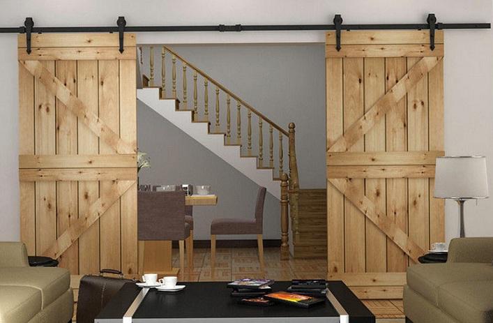 Double barn door decorating ideas with rustic barn door track hardware