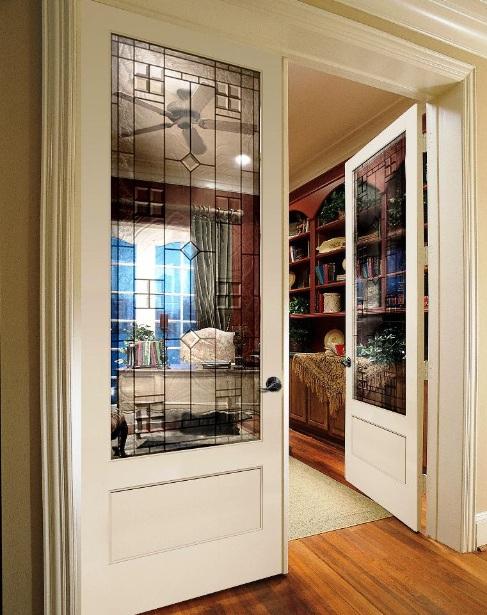 Double half glazed interior doors for living room