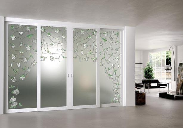 Etched glass door panels ideas for double sliding doors