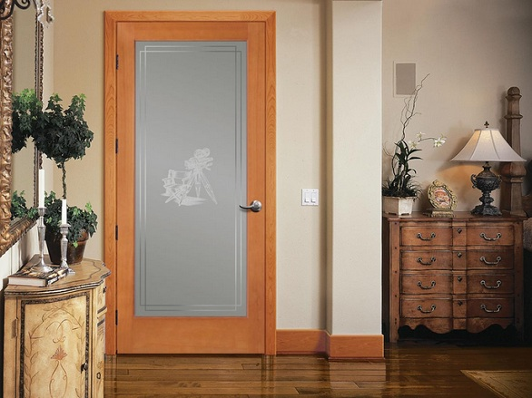 Etched glass interior doors with natural wooden frame