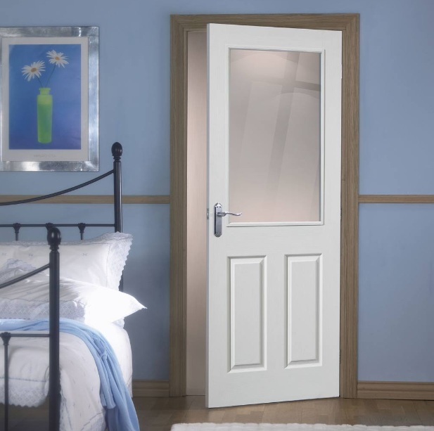 French Internal White Doors With Glass For Small Bedroom Home