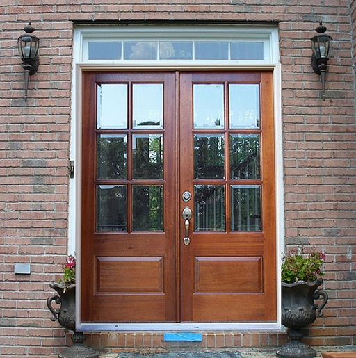 French mahogany double entry doors with glass panels for Exterior double doors lowes