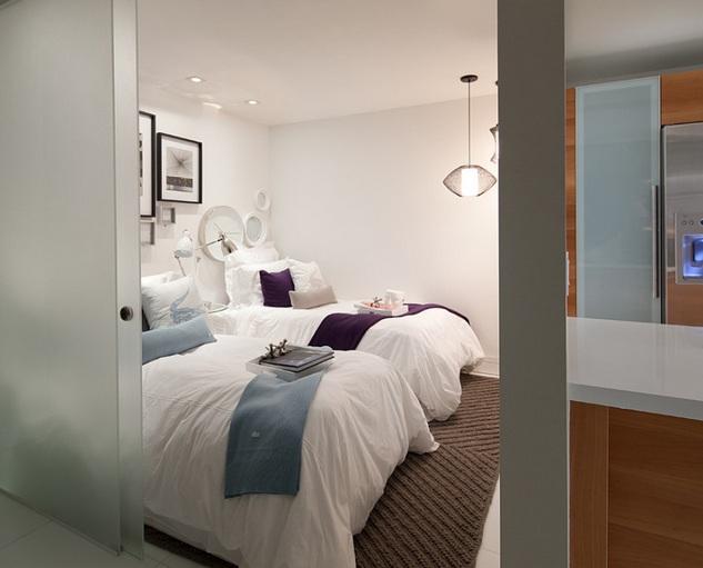Frosted glass bedroom door for simple bedroom design