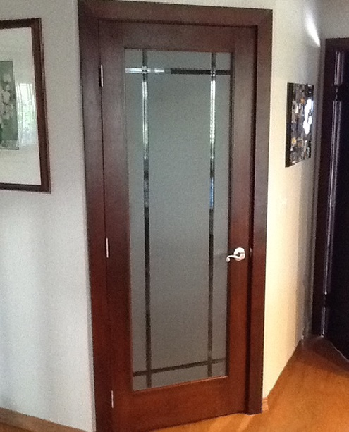 Frosted glass bedroom door for style improve the look of for Room door frame