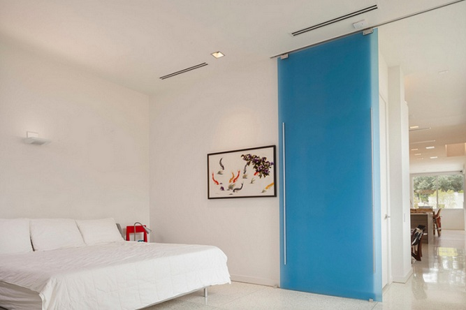 Frosted glass sliding bedroom door for saving space