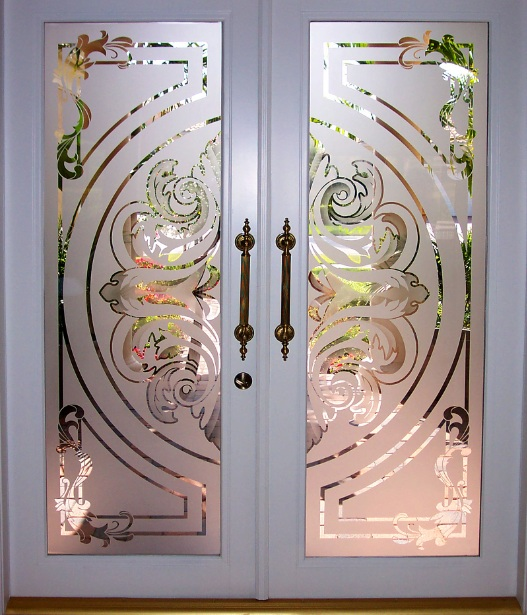 High Quality Glass Etching Designs For Doors With Painted Wood Frame Door