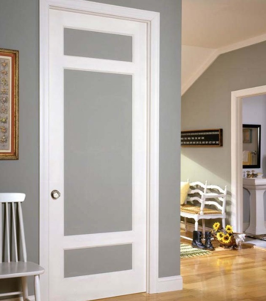 Grey Flat Panel Interior Doors With White Frame