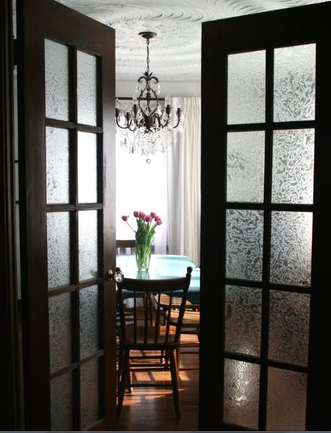 Interior french doors with frosted glass for dining room