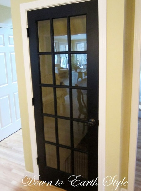 Interior Single French Door With Black Painted Wood Frame