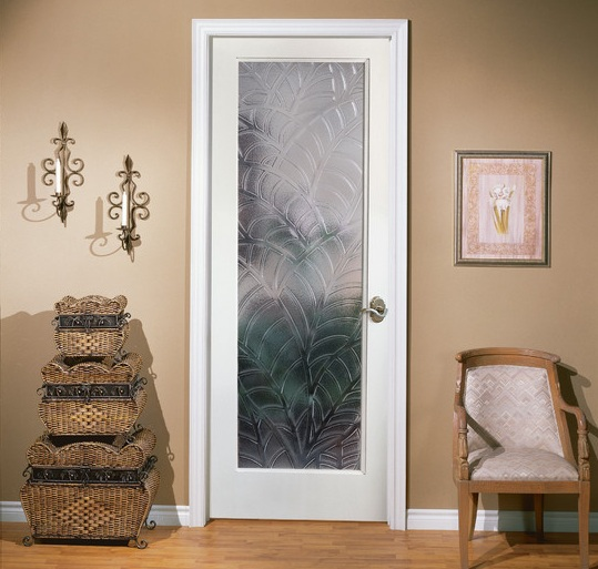 Interior single french door with decorative frosted glass