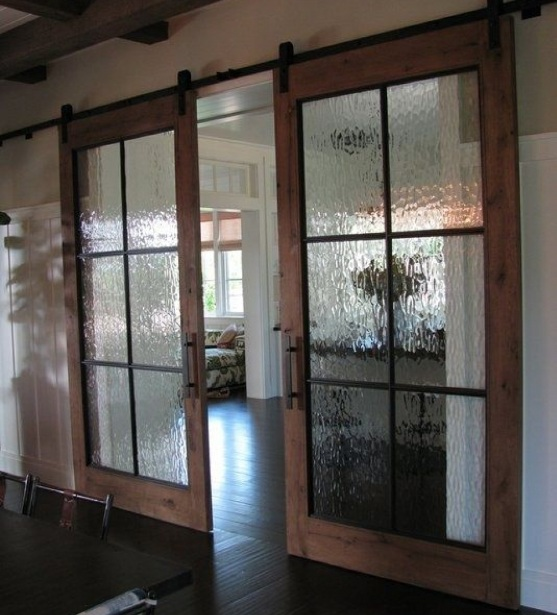 Interior sliding french doors with frosted glass for room dividers  Home Doors Design