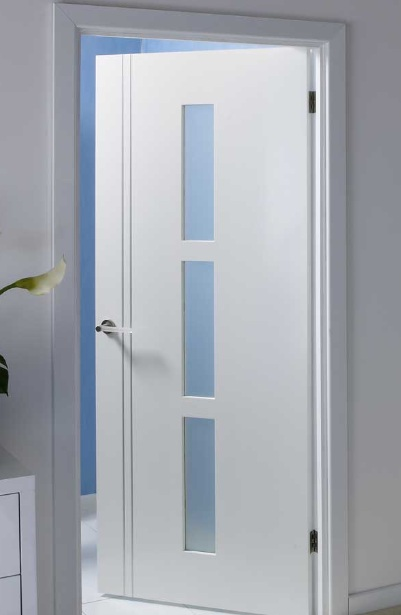 Internal white doors with glass and solid wood frame