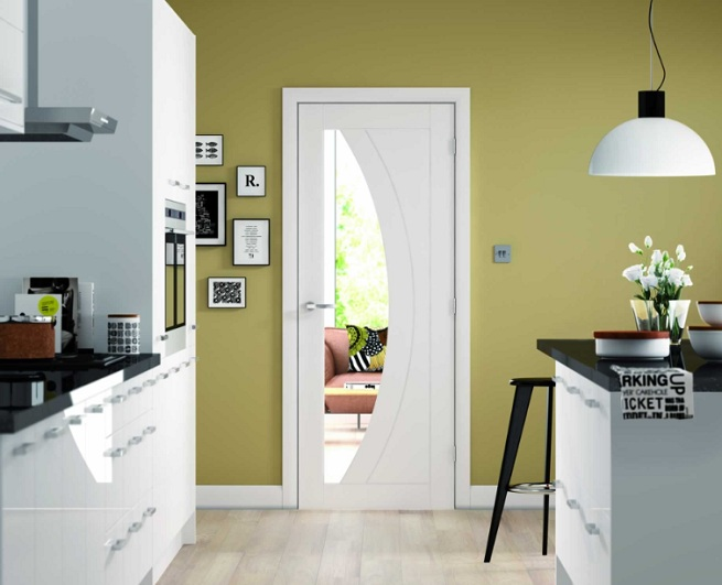 Internal white doors with glass for kitchen