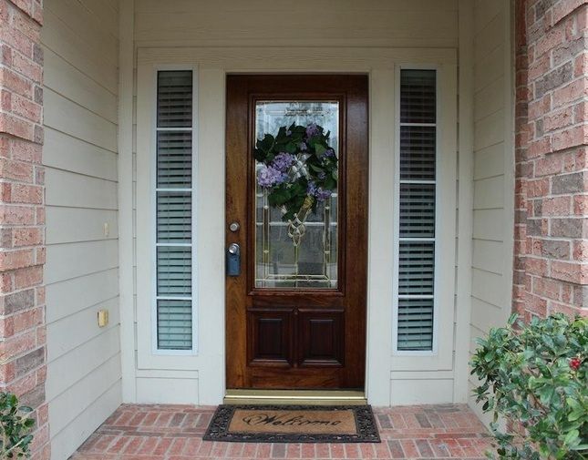 Leaded glass door inserts for fleur de lis door style