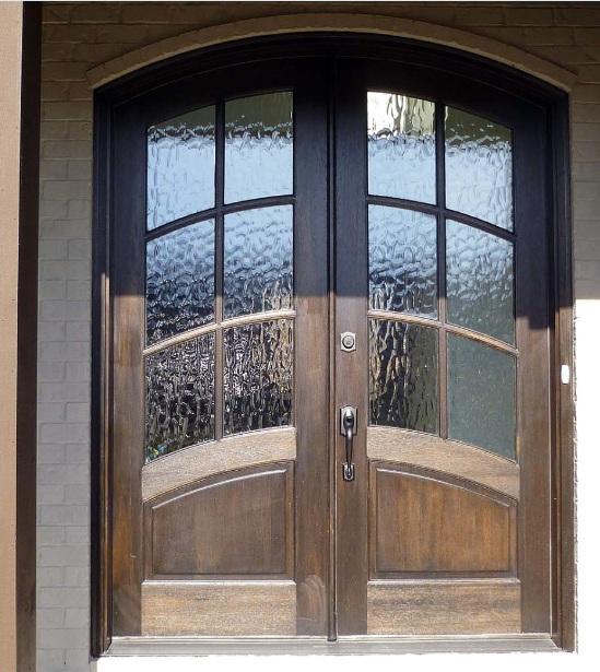 Mahogany entry doors with decorative glass panels