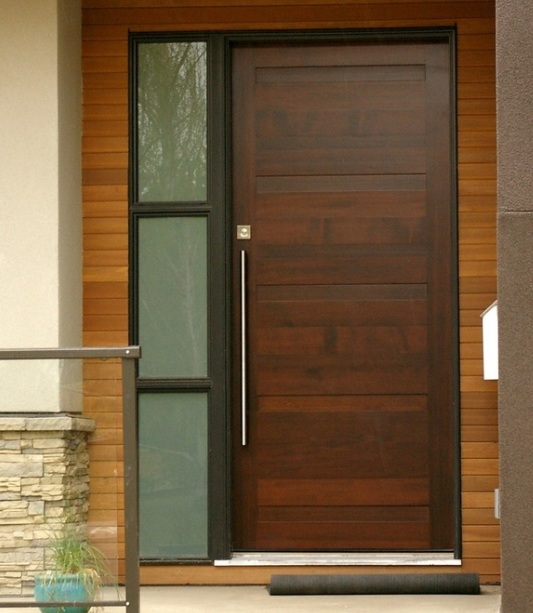 Modern single mahogany entry doors with sidelights home doors design inspiration for Exterior door with one sidelight