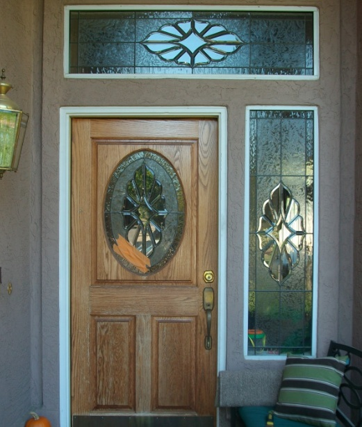Oval Stained Glass Designs For Doors With Single Sidelights And Top