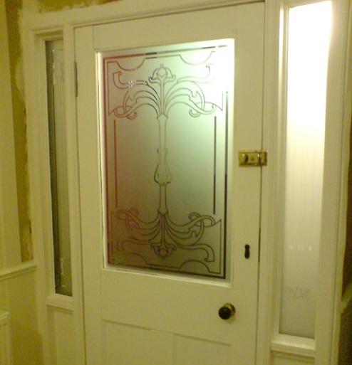 Retro etched glass door panels ideas