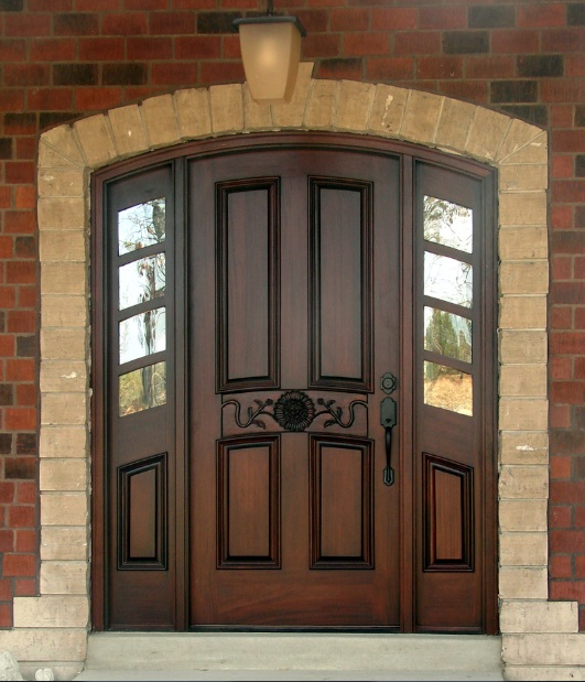 Single mahogany entry doors with arched style
