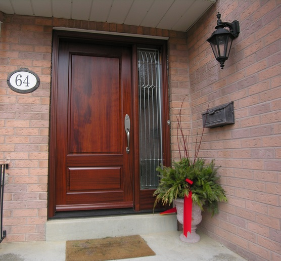 Single Mahogany Entry Doors With Sidelights