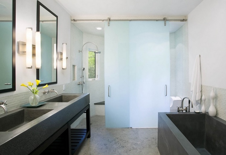 Sliding frosted glass interior bathroom doors with stainless steel door track and rollers