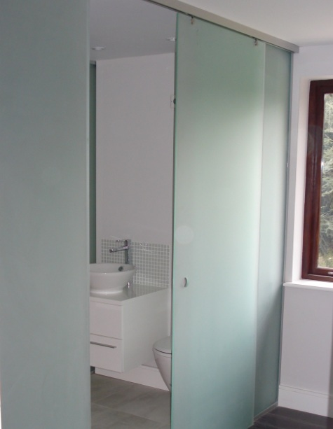 Sliding Frosted Gl Interior Bathroom Doors With Stainless Steel Track And Walls