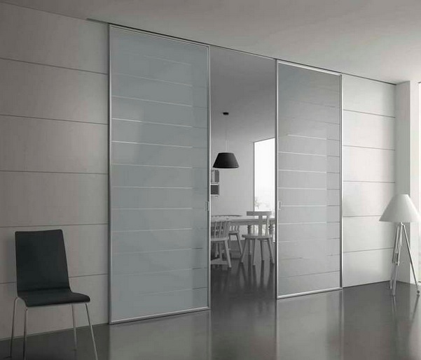 Perfect Sliding Interior Door With Frosted Glass Panel For Dining Room