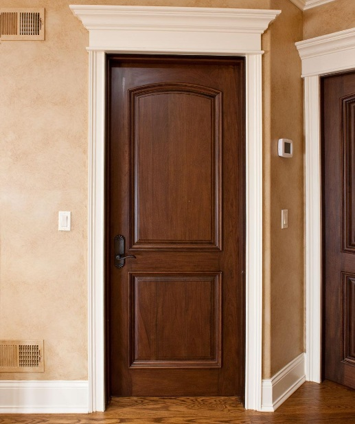 Solid wood interior single french door with natural finish