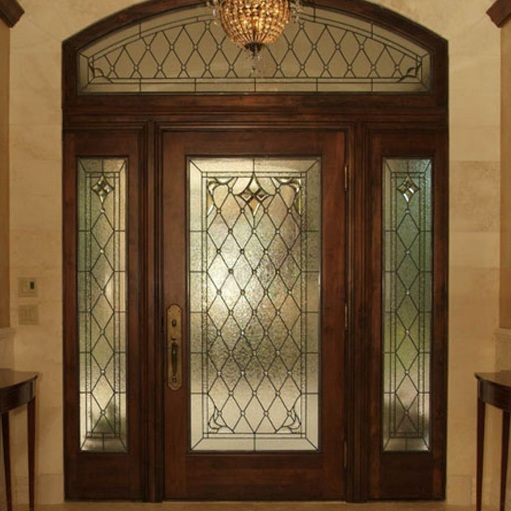 Stained glass designs for doors with sidelights and arched top