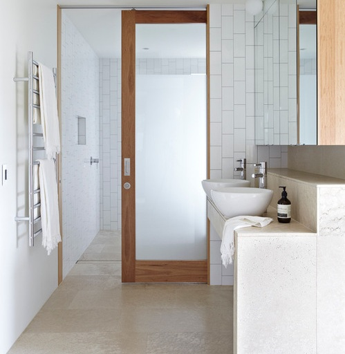 Timber frosted glass interior bathroom doors design