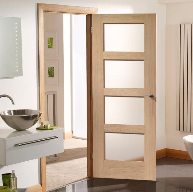 White glass panel interior doors for bathroom home doors - Interior glass panel doors designs ...