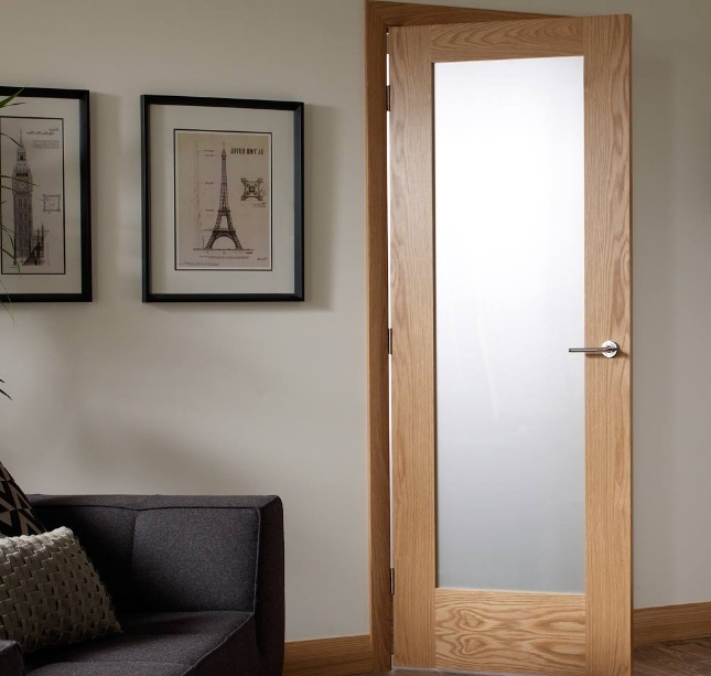 White Glass Panel Interior Doors With Oak Frame Home Doors Design
