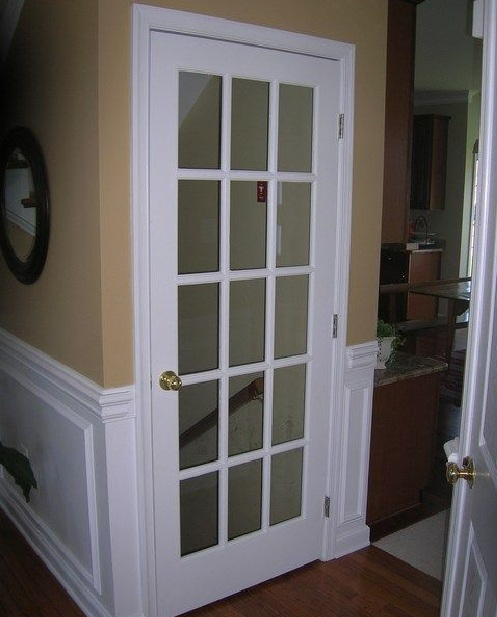 White interior single french door