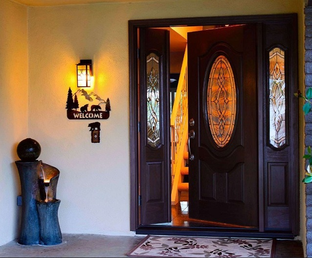 Decorative glass door inserts for custom made front doors