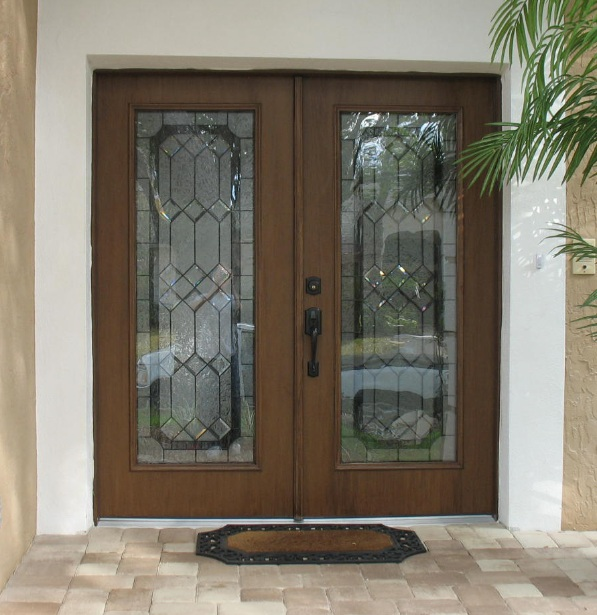 Decorative glass door inserts for double front doors