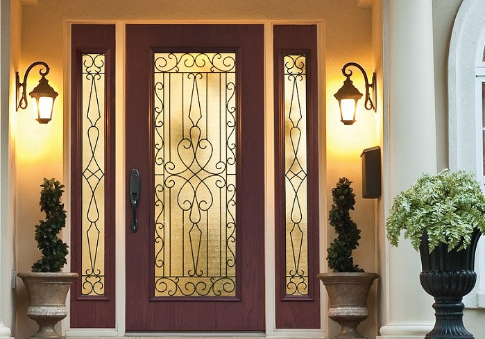 Decorative glass door inserts for single door with classic style